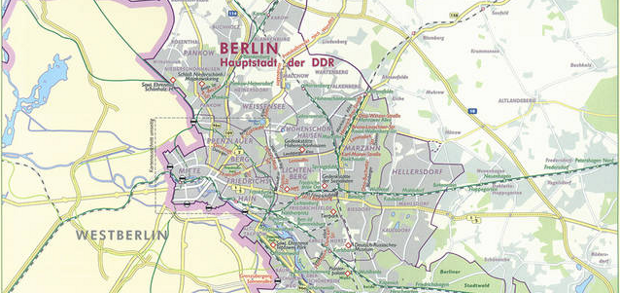 An East German Map, showing West Berlin as an empty space.