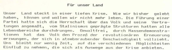 The original print out of the Für Unser Land statement