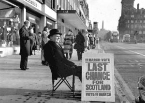 Sandwich-board encouraging a yes vote for Scottish devolution in 1979