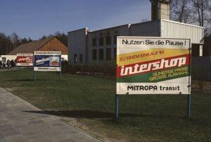 Intershop advertising boards by the motorway in 1989